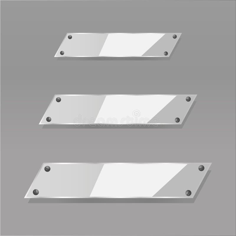 Les plaques de verre transparentes modernes de vecteur ont placé sur le fond témoin photographie stock libre de droits