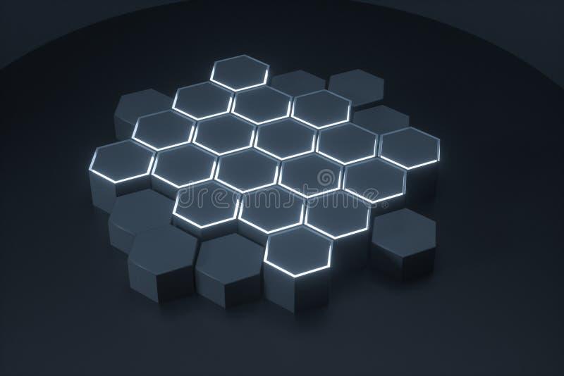 Les plates-formes hexagonales foncées ont relié ensemble le fond, le rendu 3d illustration libre de droits