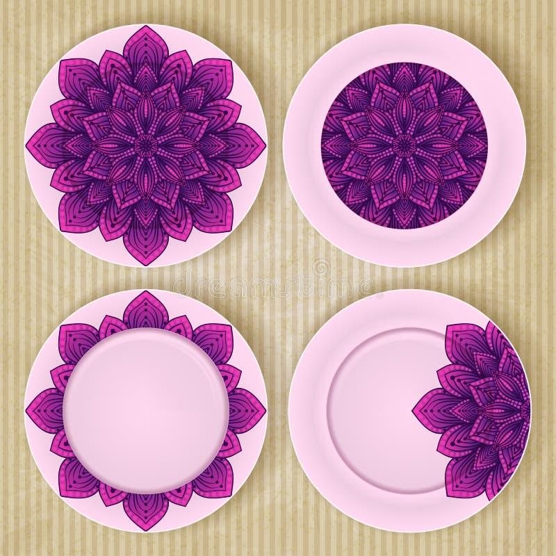 Les plats avec le modèle floral ont placé sur le rétro fond illustration libre de droits