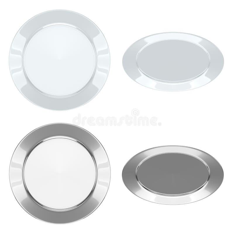 Les plats - placez (en céramique + métallique) illustration libre de droits