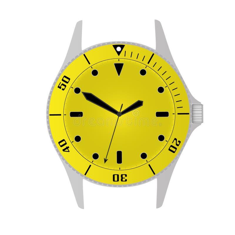 Les plongeurs de sport modernes simples dénomment le boîtier de montre et l'objet jaunes eps10 de cadran illustration de vecteur