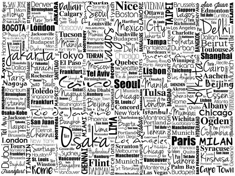 Les plus grandes villes dans le mot du monde opacifient le collage images stock