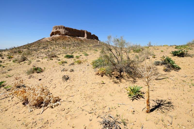Les plus grands châteaux de ruines de l'†antique de Khorezm «Ayaz - Kala, l'Ouzbékistan images stock