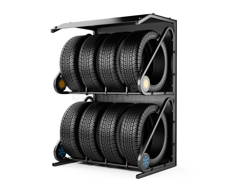 Les pneus d'été et d'hiver ont placé en vente à un magasin de pneu illustration libre de droits