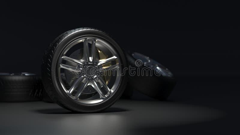 Les pneus de voiture allient des roues illustration de vecteur