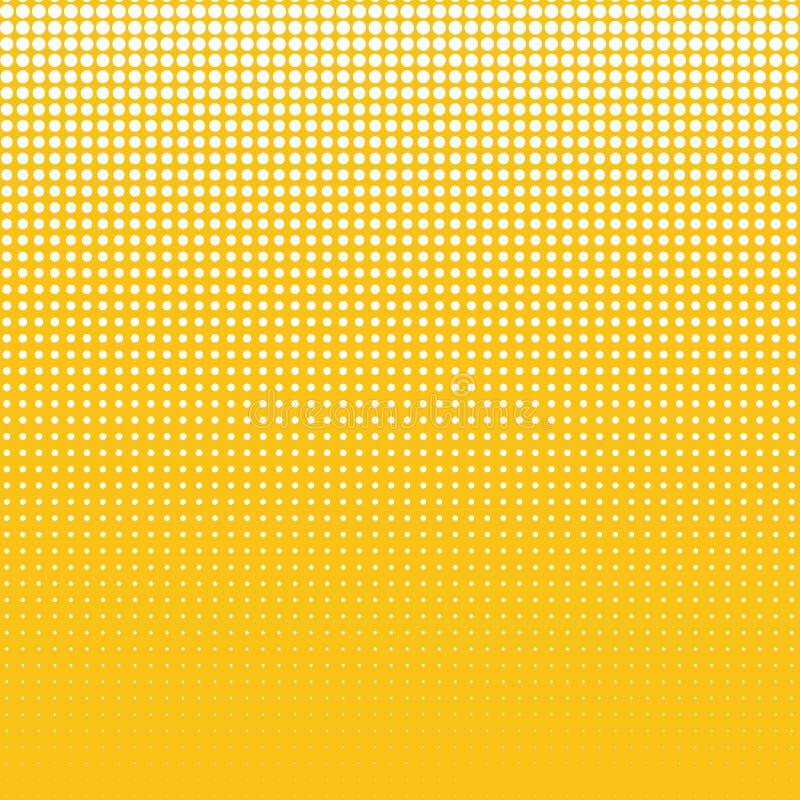 Les points blancs de différentes tailles sur le fond jaune illustration de vecteur