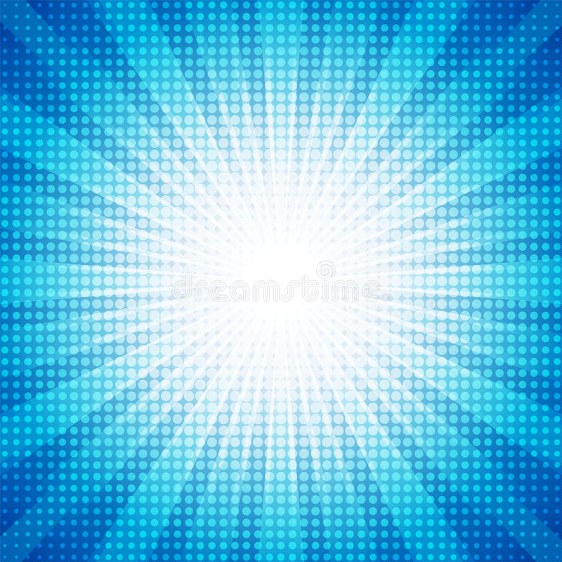 Les points blancs tramés avec l'étoile abstraite bleue ont éclaté le concept abstrait de fond illustration de vecteur