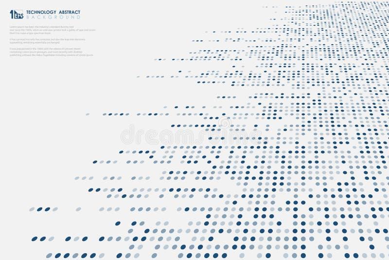 Les points bleus de dimension de résumé modèlent la grande ligne fond de technologie de données de couverture de conception de mo illustration libre de droits