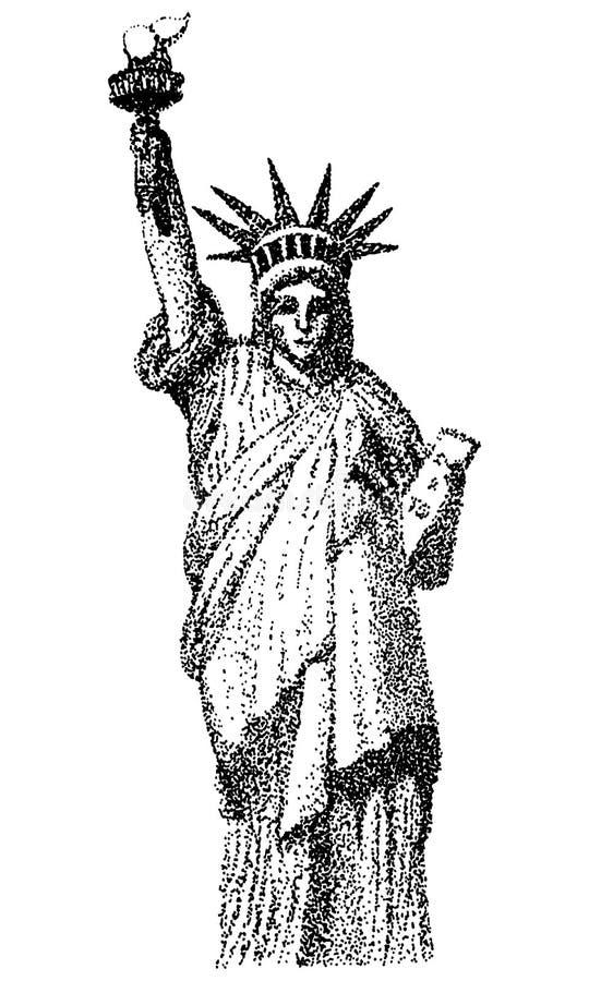Les points conçoivent l'illustration de la statue de la liberté, New York City, point de repère de grand Apple photographie stock libre de droits