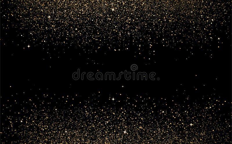 Les points d'étoiles d'or dispersent des confettis de texture en ABS de galaxie et d'espace photographie stock libre de droits