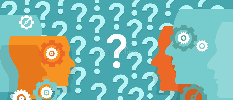 Les points d'interrogation partout autour de la tête ont confondu le problème de interrogation d'équipe illustration stock