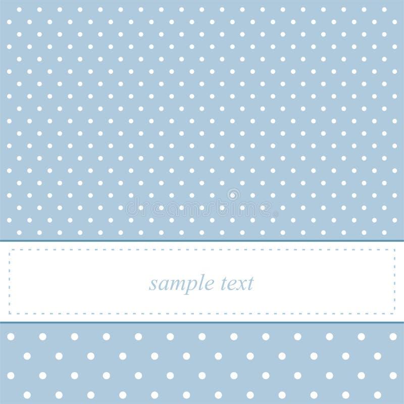 Les points de polka doux et bleus dirigent la carte ou l'invitation illustration de vecteur