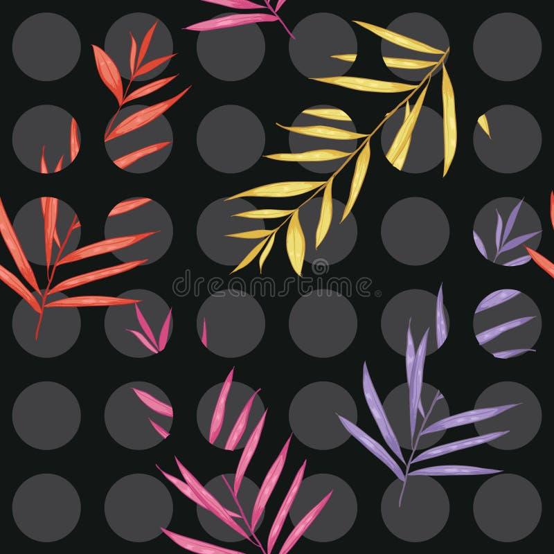 Les points de polka gris Contrasty sur le modèle sans couture noir se sont mélangés à c illustration libre de droits