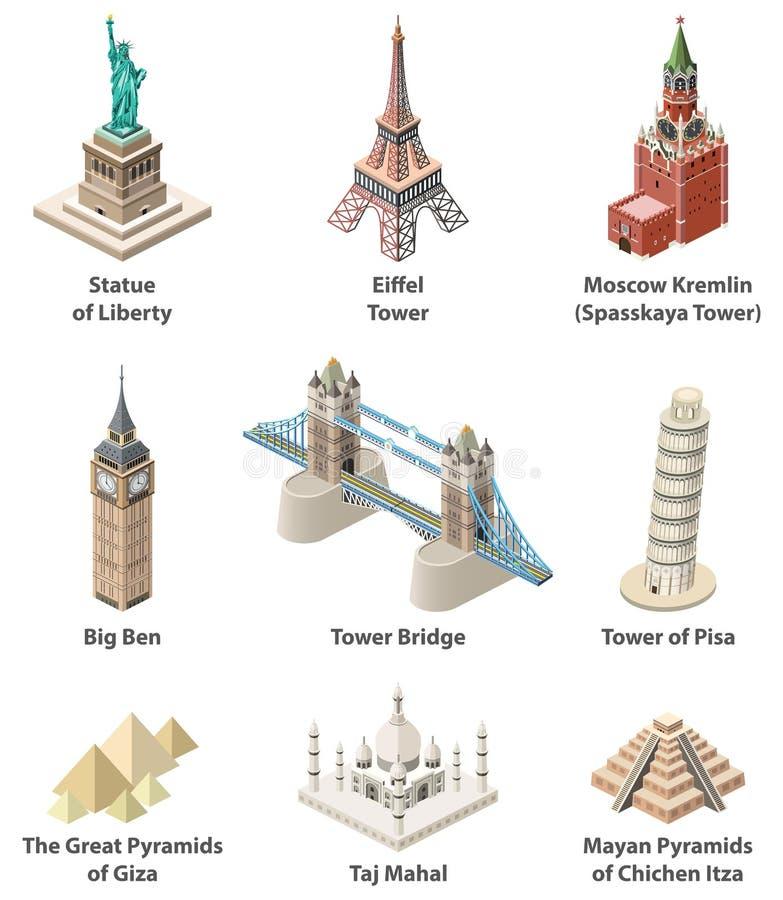 Les points de repère célèbres du monde dirigent les icônes d'isolement détaillées de haute isométrique illustration stock
