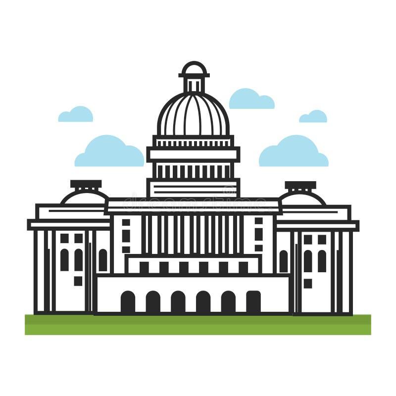 Les points de repère de voyage des Etats-Unis Amérique de la Maison Blanche et les attractions touristiques dirigent l'icône illustration de vecteur
