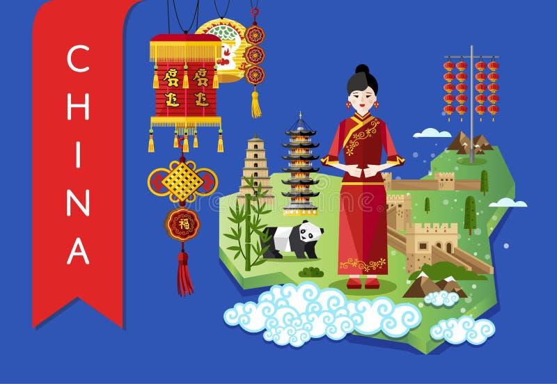 Les points de repère et le voyage de la Chine tracent sur le fond bleu illustration libre de droits