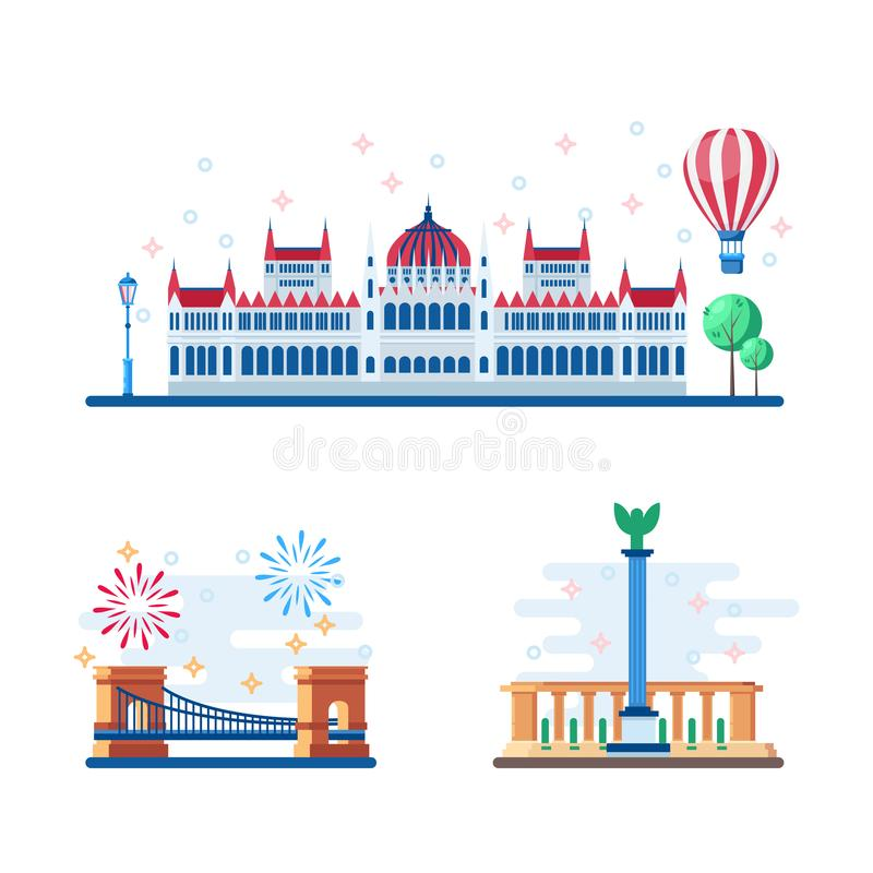Les points de repère touristiques de Budapest dirigent l'illustration plate Voyage aux éléments de conception de la Hongrie Le Pa illustration stock
