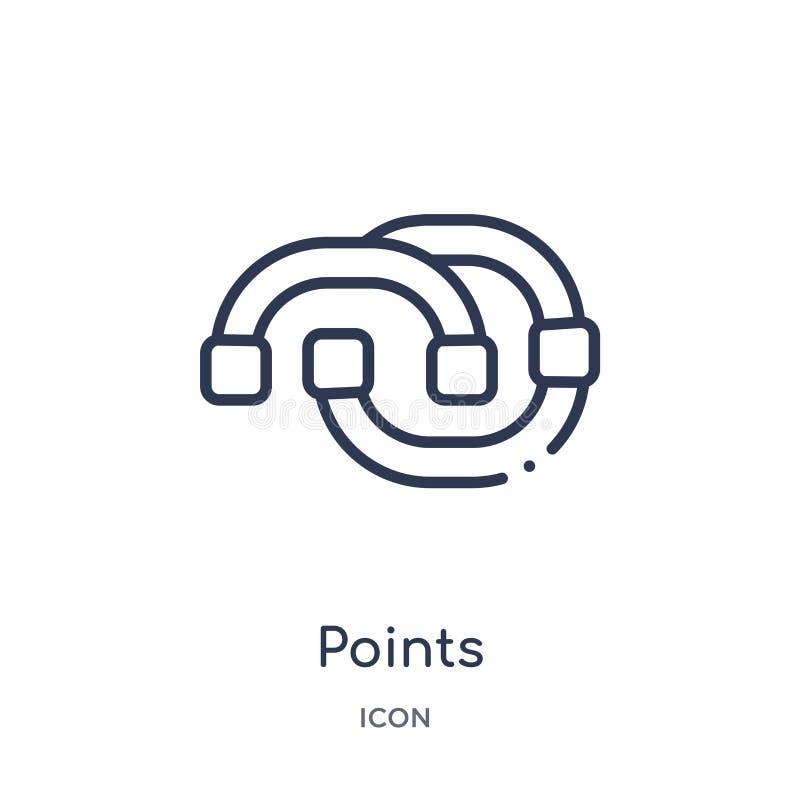 Les points linéaires ont relié l'icône de diagramme de la collection d'ensemble d'affaires La ligne mince points a relié l'icône  illustration stock