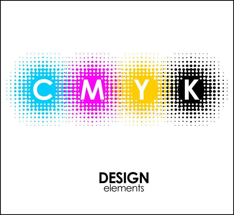 Les points tramés de l'impression CMYK conçoivent les éléments abstraits illustration stock