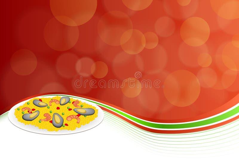 Les pois abstraits de riz de Paella de nourriture de fond poivrent l'illustration rouge de cadre de vert de moule de crevette illustration de vecteur