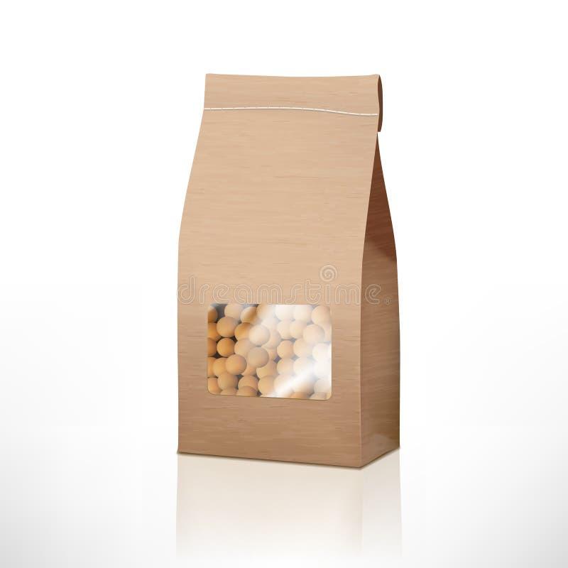 Les pois de papier de métier de Brown mettent en sac l'emballage avec la fenêtre transparente image libre de droits
