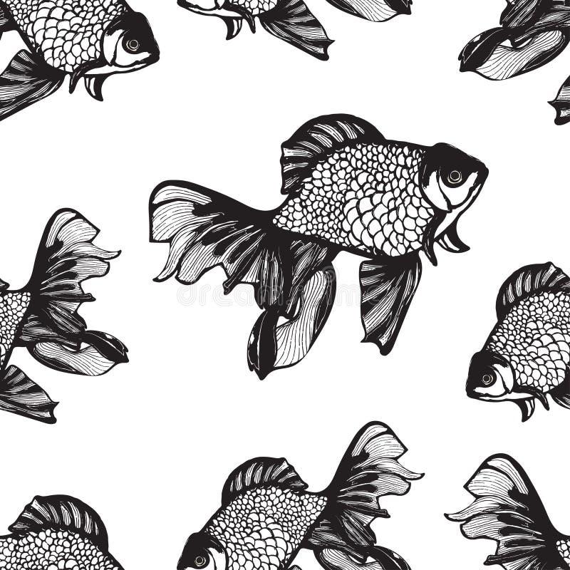 Les poissons abstraits esquissent le mod le sans couture - Dessin fond noir ...