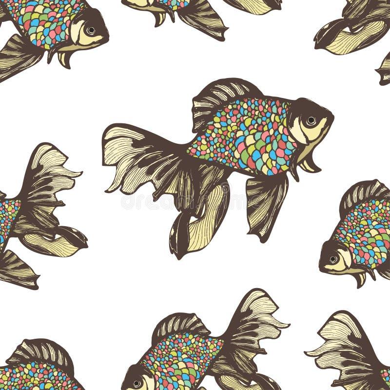 Les poissons abstraits remettent le modèle sans couture de dessin, fond de vecteur Décoratif avec les échelles multicolores bario illustration stock