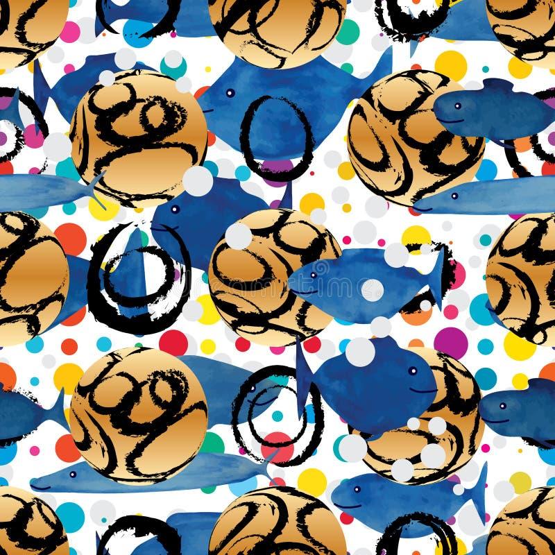 Les poissons d'aquarelle de symétrie de boule d'encre du cercle 3d 2d nagent le modèle sans couture illustration de vecteur