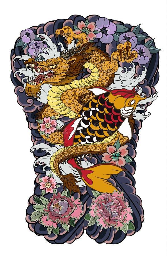 Les poissons de carpe de dragon et de koi avec l'éclaboussure et la pivoine de l'eau fleurissent, les fleurs de cerisier, fleur d illustration de vecteur