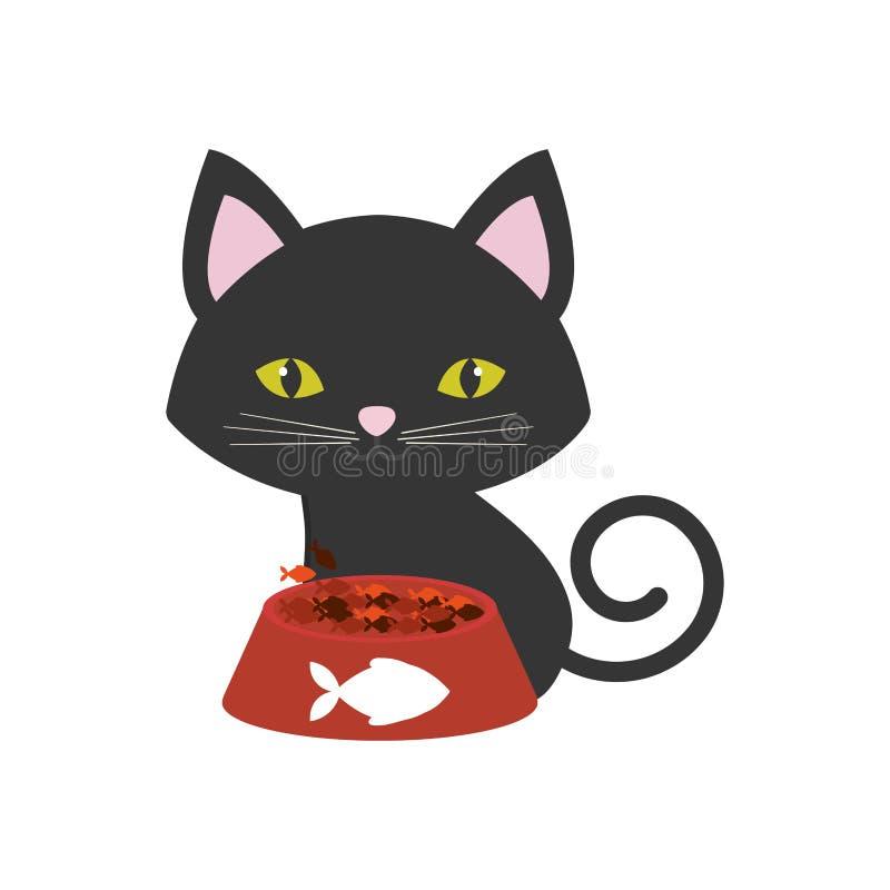 les poissons de nourriture roses de plat de yeux verts d'oreilles de chat impriment illustration stock