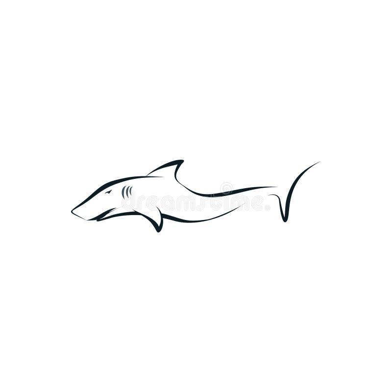 Les poissons de requin silhouettent le concept de logo illustration de vecteur
