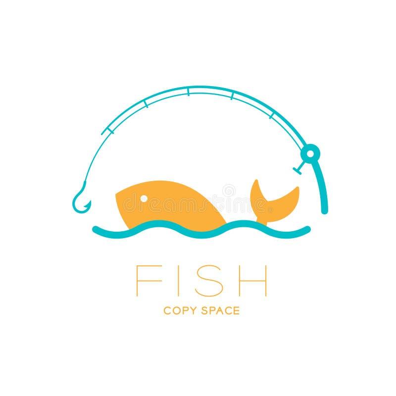 Les poissons et la mer dans la canne à pêche courbent le cadre, illustration de scénographie d'icône de logo illustration de vecteur