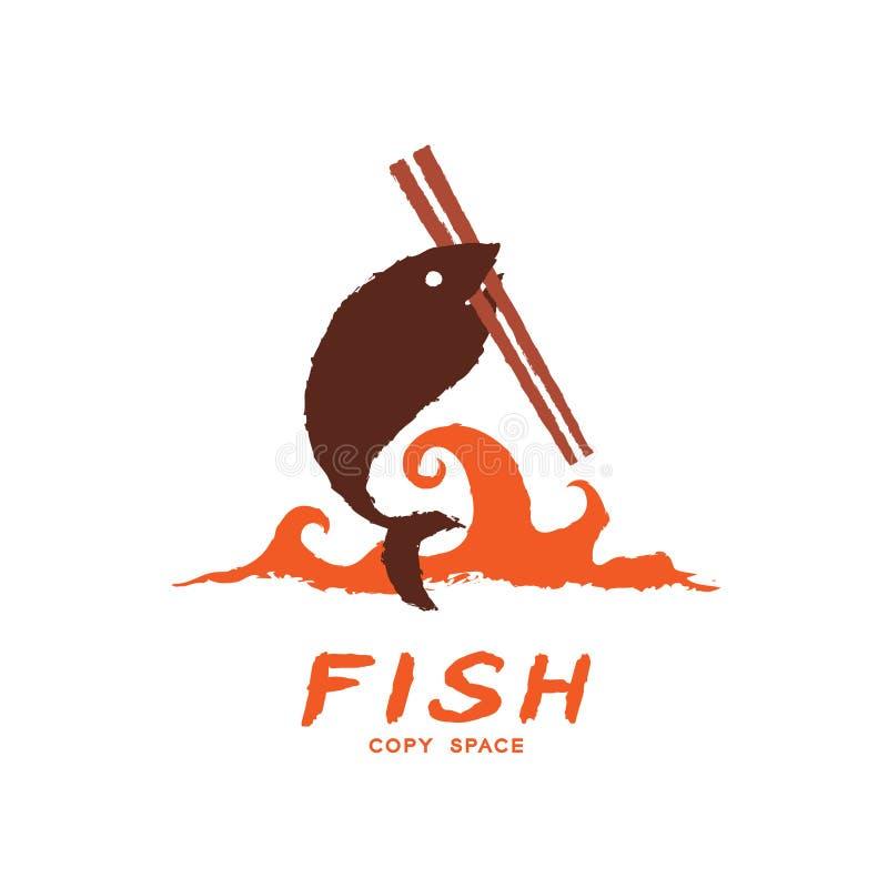 Les poissons portent des baguettes sur la vague, illustration de couleur réglée de brun de conception de brosse d'icône de logo illustration de vecteur