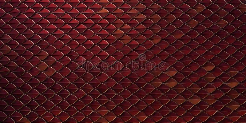 Les poissons rouges et d'or de dragon de reptile serpentent des skales modèlent le backround la peau 3d de dragon a rendu le fond image stock