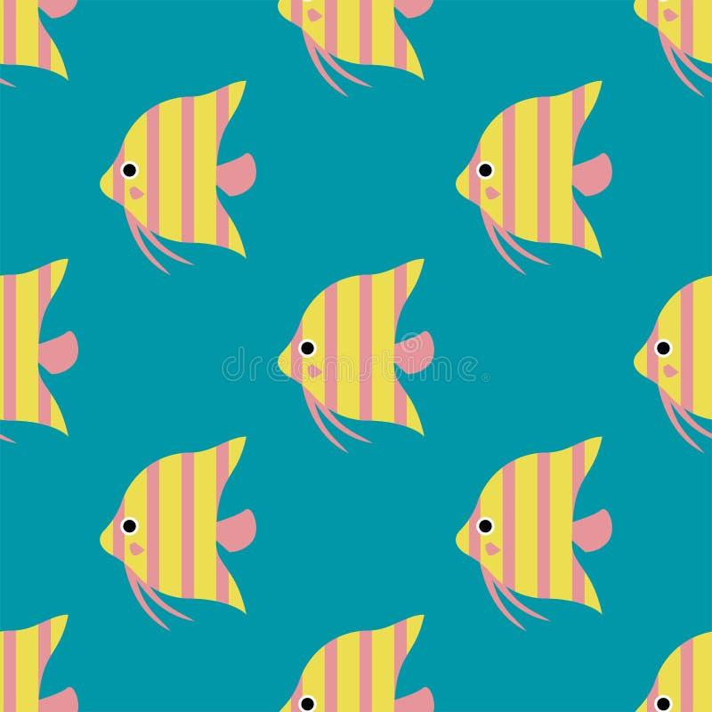 Les poissons tropicaux exotiques emballent l'illustration plate de vecteur de modèle d'océan d'espèces de nature aquatique sous-m illustration stock