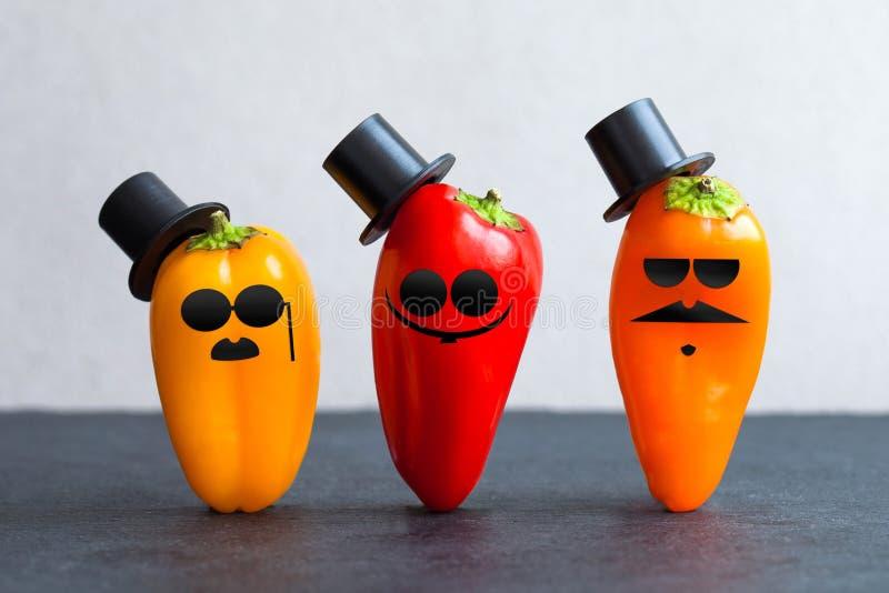 Les poivrons de monsieur ont décoré les chapeaux noirs de barbes de lunettes de soleil Caractères jaune-orange rouges démodés drô photo stock