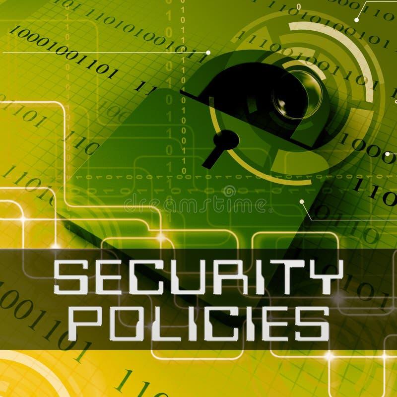 Les politiques de sécurité montre le rendu des règles 3d de protection des données illustration stock