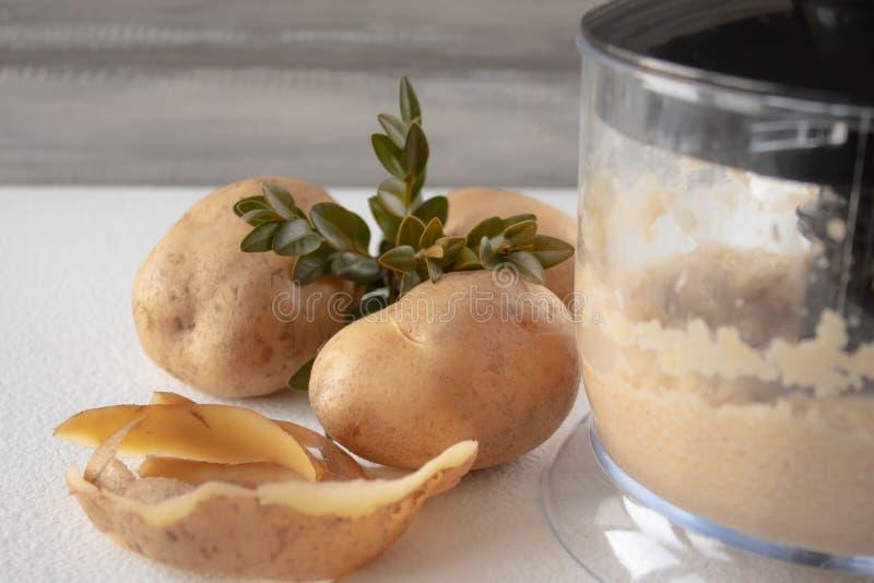 Les pommes de terre épluchées se sont mélangées dans un mélangeur sur un fond blanc photographie stock libre de droits