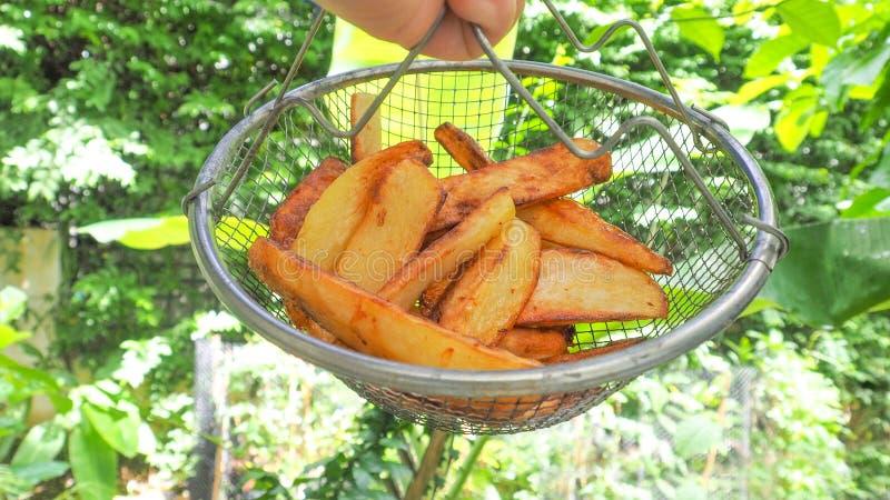 Les pommes frites dans le panier de grille ont le fond vert de nature photographie stock libre de droits