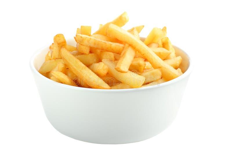 les pommes frites de cuvette ont complètement isolé le blanc images libres de droits