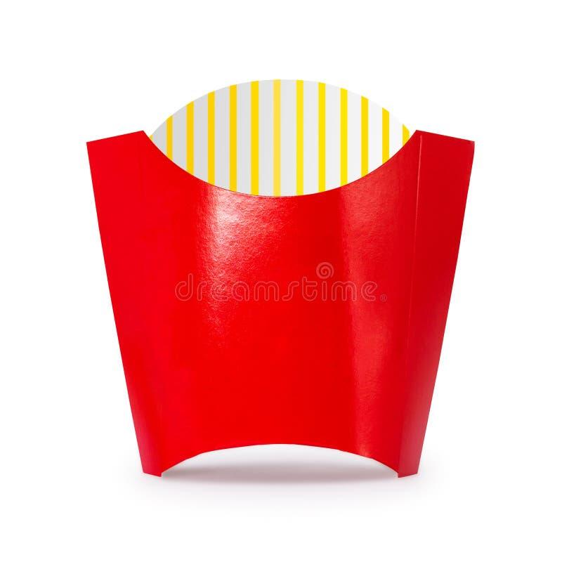 Les pommes frites enferment dans une bo?te d'isolement sur le fond blanc Carton ou emballage rouge pour les aliments de pr?parati illustration de vecteur