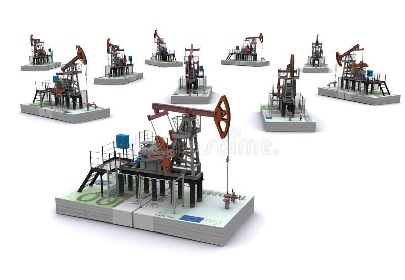 Les pompe-plots de pétrole reste sur des paquets d'euro illustration libre de droits