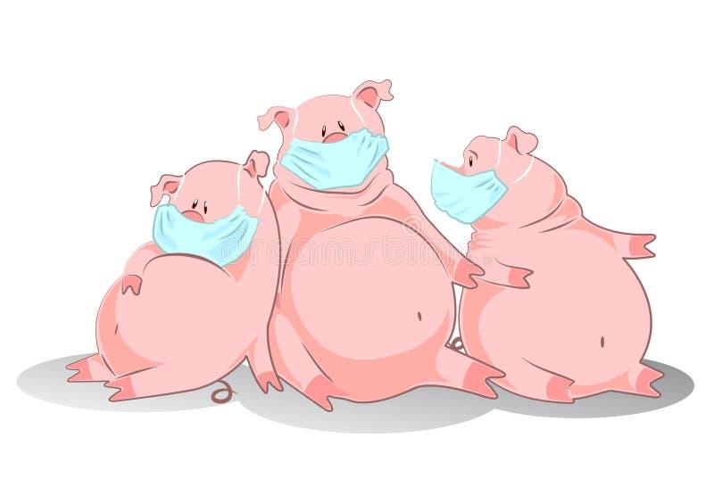 Les porcs dans un masque d'air représentent la grippe de porcs illustration stock