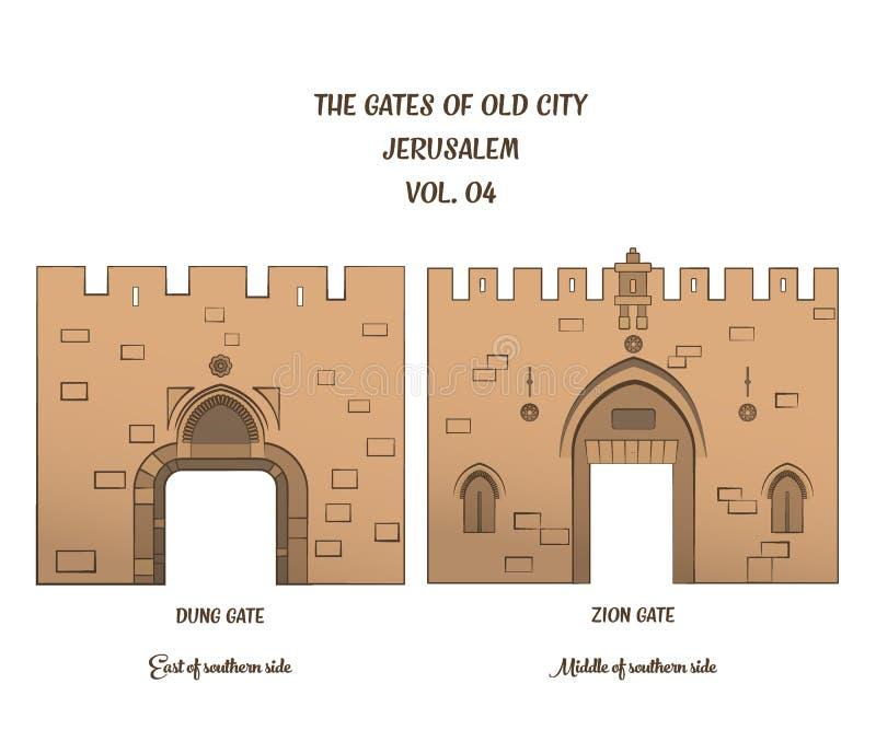 Les portes de Jérusalem, Dung Gate, Zion Gate illustration libre de droits