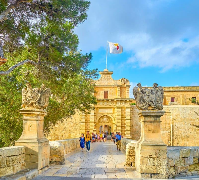 Les portes principales à la forteresse de Mdina, Malte photos libres de droits