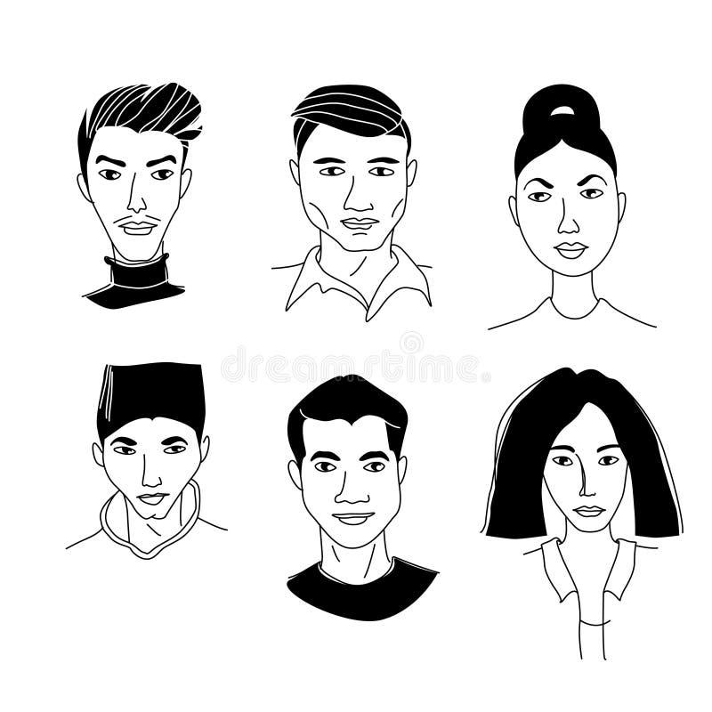 Les portraits principaux des hommes des femmes asiatiques la communauté Mono-ethnique de foule de groupe d'équipe illustration de vecteur