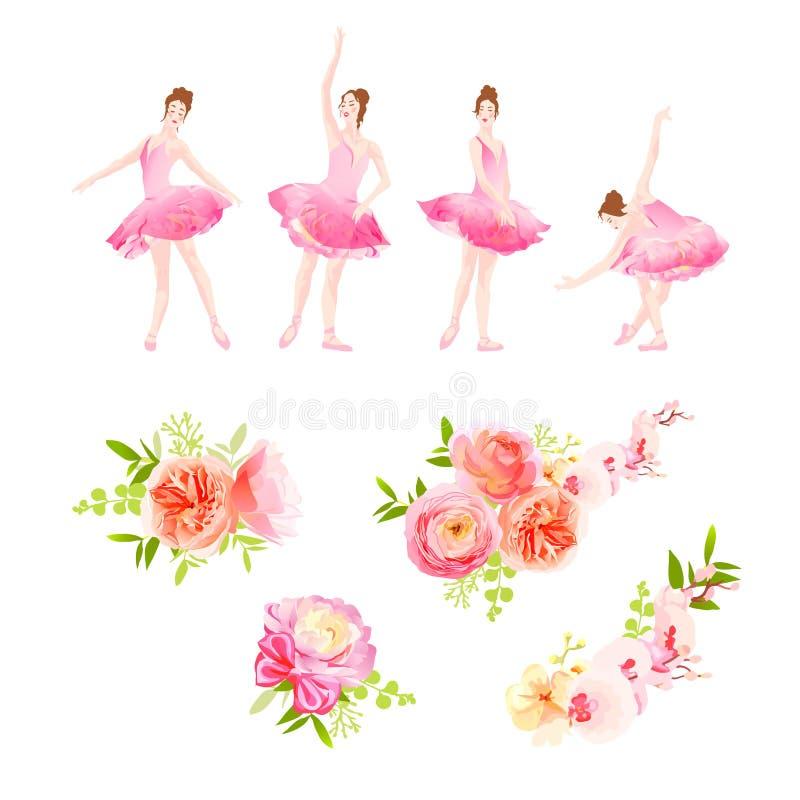 Les poses de danse de ballerine et le vecteur frais de bouquets de fleur de ressort conçoivent illustration de vecteur