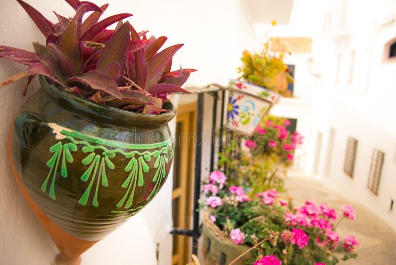 les pots de fleurs ont accroch sur le mur dans andalousie espagne image stock image du. Black Bedroom Furniture Sets. Home Design Ideas