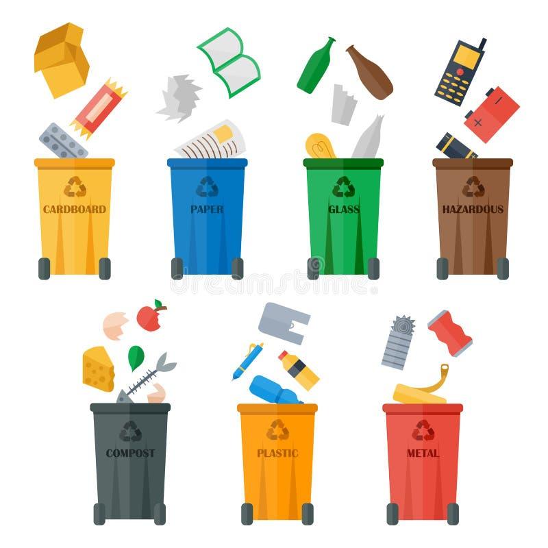 Les poubelles colorées avec des déchets dactylographie le vecteur illustration libre de droits