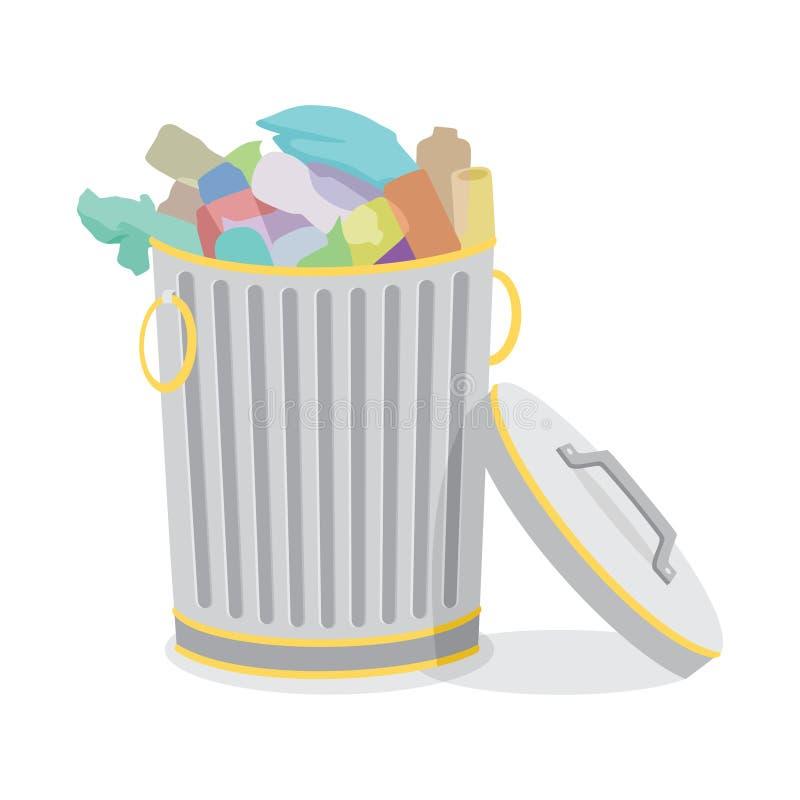 Les poubelles de fer ont classé avec l'illustration de vecteur de déchets illustration stock
